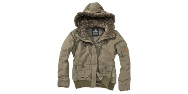 Dámska khaki bunda s kapucňou Brunotti