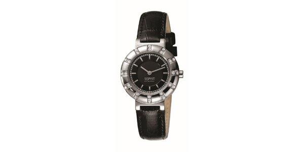 Dámske hodinky so strieborným guľatým púzdrom s kamienkami Esprit