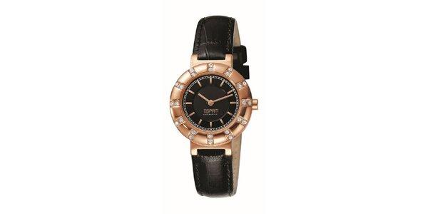 Dámske hodinky s ružovo-zlatým guľatým púzdrom s kamienkami Esprit
