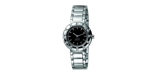 Dámske oceľové hodinky s guľatým púzdrom s kamienkami Esprit