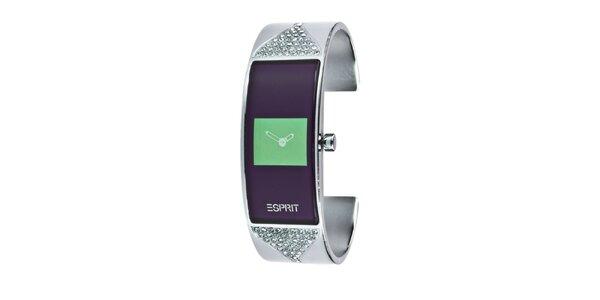 Dámske náramkové hodinky s hranatým ciferníkom v zelenej farbe Esprit