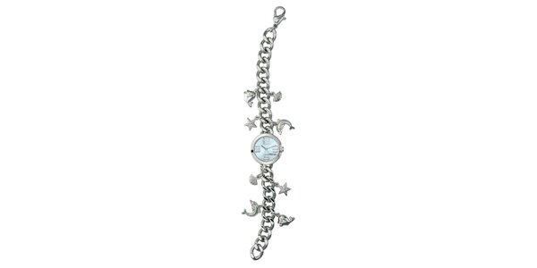 Dámske strieborné hodinky s príveskami Esprit