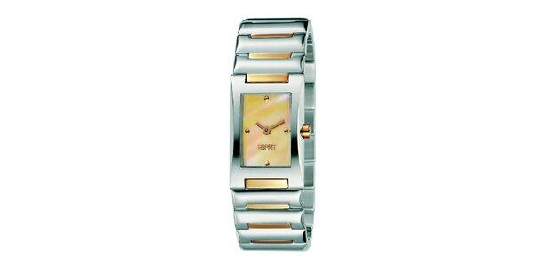 Dámske strieborné hodinky s žltou perleťou Esprit