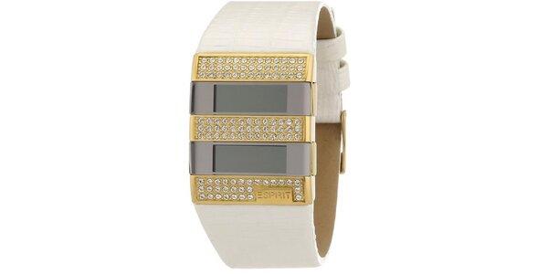 Dámske bielo-zlaté digitálne hodinky s kryštáľmi Esprit