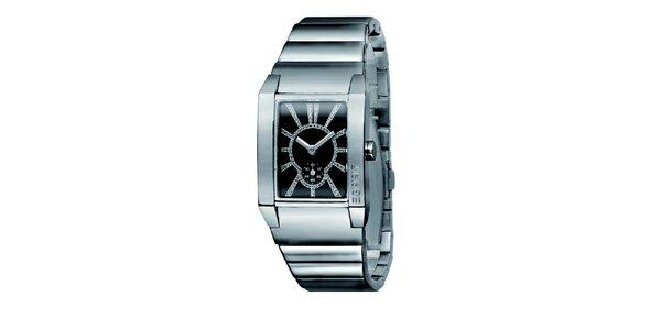 Dámske strieborné hodinky s čiernym ciferníkom a kamienkami Esprit