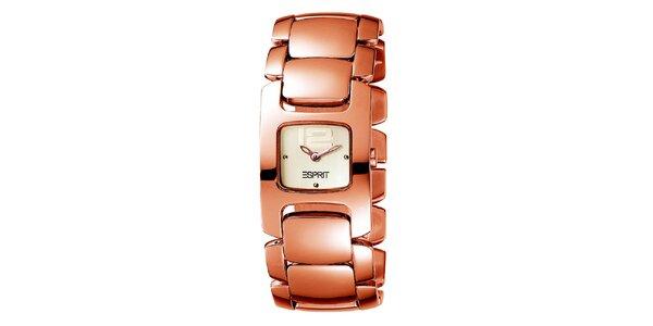 Dámske pozlátené hodinky v ružovozlatom odtieni Esprit