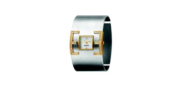 Dámske hodinky so zlatými detailmi a kamienkami Esprit