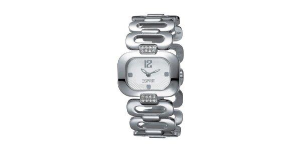 Dámske strieborno tónované hodinky s perforovaným náramkom Esprit