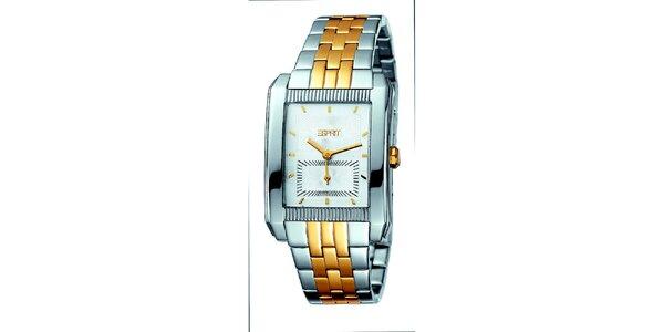 Dámske zlato-strieborné hodinky s dvomi ciferníkmi Esprit