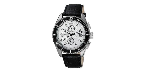 Pánske hodinky s oceľovým púzdrom a čiernym remienkom Esprit