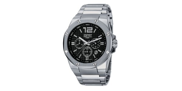 Pánske strieborné hodinky s chronografom a ozdobnými šróbikmi Esprit
