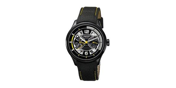 Pánske čierne hodinky so žltými detailmi Esprit