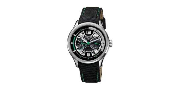 Pánske čierne hodinky so zelenými detailmi Esprit