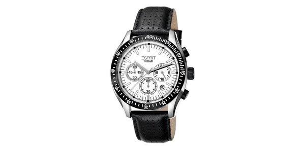 Pánske analógové hodinky z nerezovej ocele s čiernym remienkom Esprit
