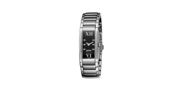 Dámske strieborné hodinky s čiernym ciferníkom Esprit