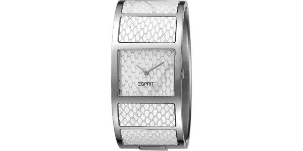 Dámske biele náramkové hodinky s hadím vzorom Esprit