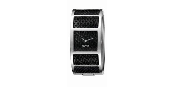 Dámske čierne náramkové hodinky s hadím vzorom Esprit