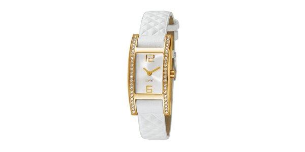 Dámske zlaté hodinky s kamienkami a bielym remienkom Esprit