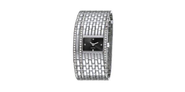 Dámske strieborno tónované hodinky so širokým náramkom Esprit