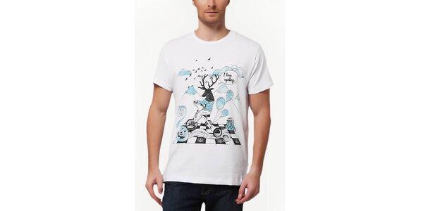 Pánske tričko s potlačou jeleňa Dogo