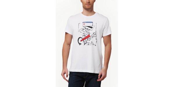 Pánske biele tričko so školskou potlačou Dogo