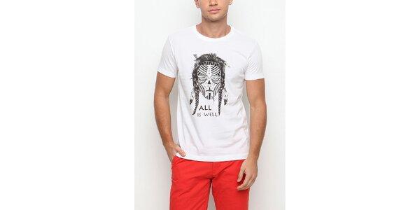 Pánske biele tričko s krátkym rukávom a potlačou bojovníka Dogo
