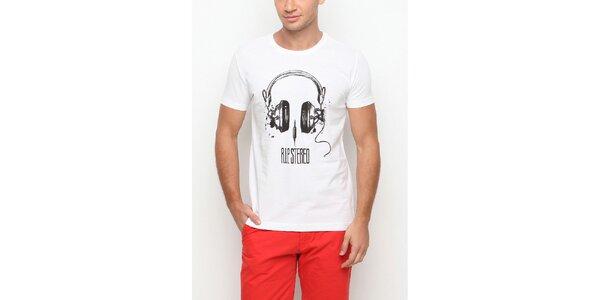 Pánske biele tričko s krátkym rukávom a potlačou slúchatiek Dogo