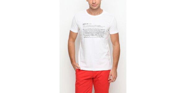 Pánske biele tričko s krátkym rukávom a potlačou klávesnice Dogo