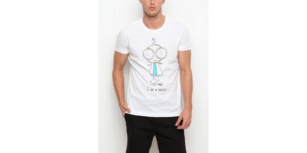 Pánske biele tričko s krátkym rukávom a potlačou doktora Dogo