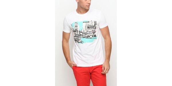 Pánske biele tričko s krátkym rukávom a potlačou mesta Dogo
