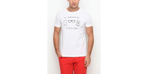 Pánske biele tričko s krátkym rukávom a čiernou potlačou Dogo