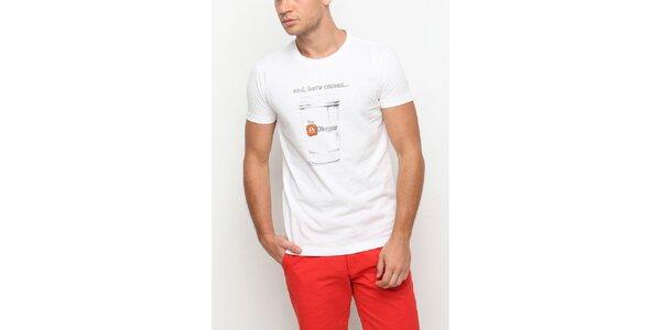 Pánske biele tričko s krátkym rukávom a potlačou hrnčeka Dogo