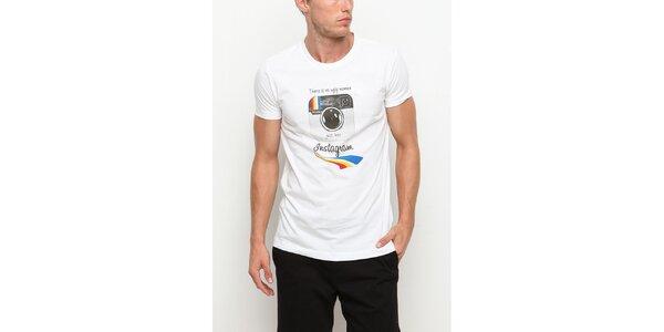 Pánske biele tričko s krátkym rukávom s motívom Instagramu Dogo