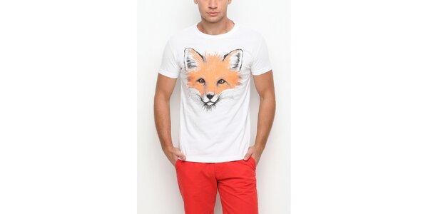 Pánske biele tričko s krátkym rukávom s potlačou líšky Dogo