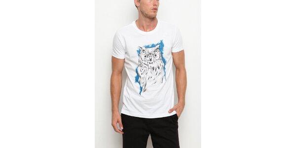 Pánske biele tričko s krátkym rukávom s potlačou sovy Dogo