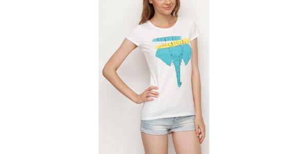 Dámske biele tričko so slonom Dogo