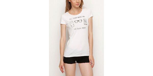 Dámske biele tričko s čiernou potlačou Dogo