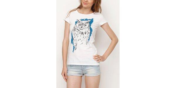 Dámske biele tričko so sovou Dogo