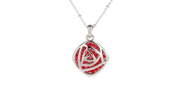 Dámsky náhrdelník s červenými kamienkami Fifi Ange