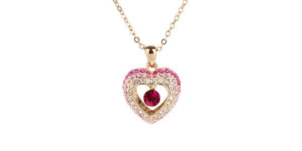 Dámsky náhrdelník s kamienkovým srdiečkom Fifi Ange