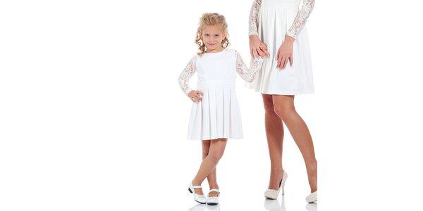 Dievčenské biele šaty so skladanou sukňou Berry Couture