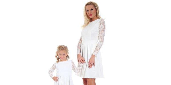 Dámske biele šaty s čipkovanými rukávmi Berry Couture