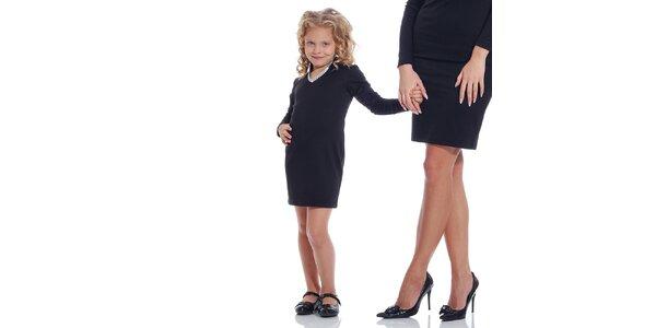 Dievčenské čierne šaty so strieborno lemovaným dekoltom Berry Couture