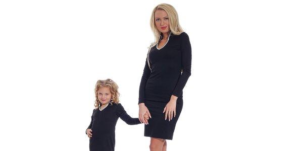 Dámske čierne šaty so strieborným lemom Berry Couture