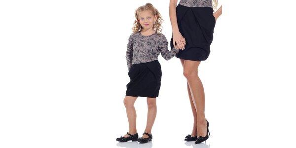 Dievčenské fialovo-čierne vzorované šaty Berry Couture