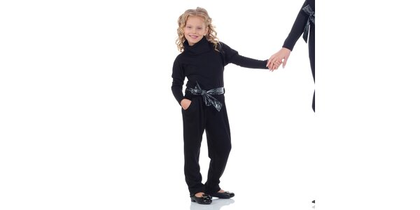 Dievčenský čierny overal so stuhou Berry Couture