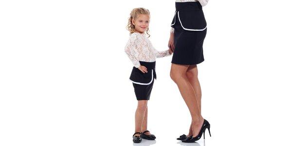 Detská čierna peplum sukňa Berry Couture
