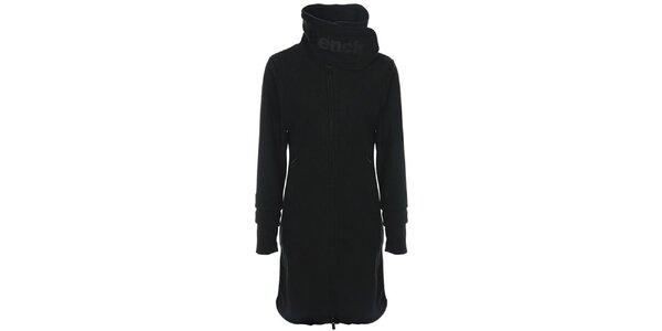 Dámsky čierny fleecový kabát s límcom Bench