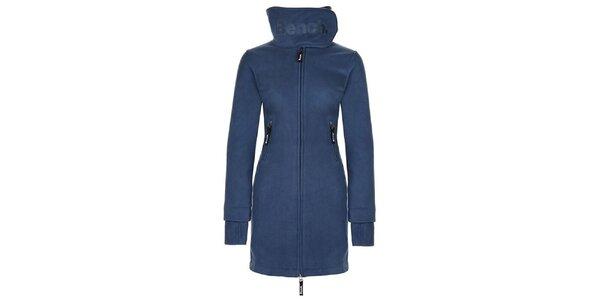Dámsky modrý fleecový kabát s límcom Bench