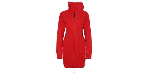 Dámsky červený fleecový kabát s límcom Bench